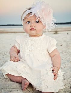 $54.00 boutique baby dress - ivory lace dress with matching bloomers