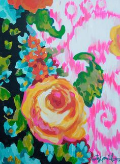yellow rose with pink ikat by KristyGammill on Etsy
