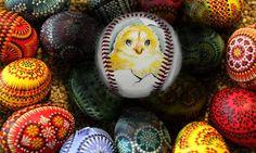 Chicken or the egg?  www.unforgettaballs.com Art Pics, Art Pictures, Baseball Art, Chicken Eggs, Easter Eggs, Art Images