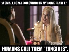 """@Marsha Penner Penner Crowe of Defiance: """"A small, loyal following on my home planet."""" Funny, @Jaime Murray just calls those """"fangirls""""... #Defiance"""