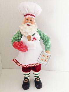 "Celebrate It Treasured Baking Candy Cane Cookies Christmas Santa Figurine 11"""
