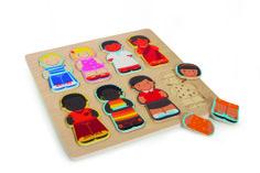 """Puzzle """"Kinder dieser Welt"""". Ob im Sari oder in Jeans - alle Kinder auf der Welt lieben Puzzles. Bei diesem Holzpuzzle gilt es, je vier internationale Jungen und Mädchen aus jeweils drei lackierten Teilen zusammenzustellen. Je bunter desto besser!"""