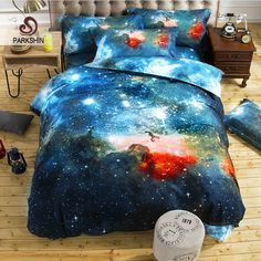 3D Galaxy Bedding Set Universe Outer Space Duver Cover Set 100% Polyester Bed Sheet Twin Queen Bed Linen drap de lit
