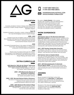 Great monotone resume design with a centre pulling two column look!   Creative…
