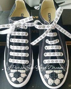 067297e7eb49 Custom Swarovski Crystal Rhinestone Baseball Themed Converse Shoes
