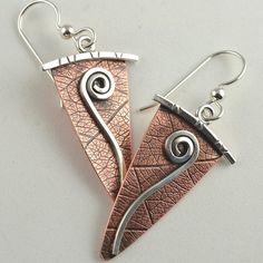 Copper and Silver Earrings Dangle Earrings by DeborahCloseDesigns