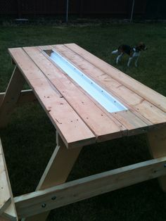 picnic table with gutter for ice and beverages