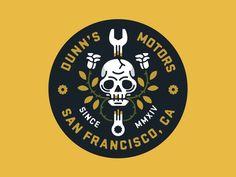 Skulls and Roses designed by Nick Slater. Typo Logo, Logo Branding, Branding Design, Logo Desing, Design Logos, Typography, Lettering, Badges, Skull Logo