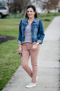 Spring Outfit Inspo  Blush Jeans with Denim Jacket I accessorized with gold  hoops and my engraved disk necklace. 9a1241cf1