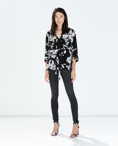 Image 1 of PRINTED KIMONO TOP from Zara