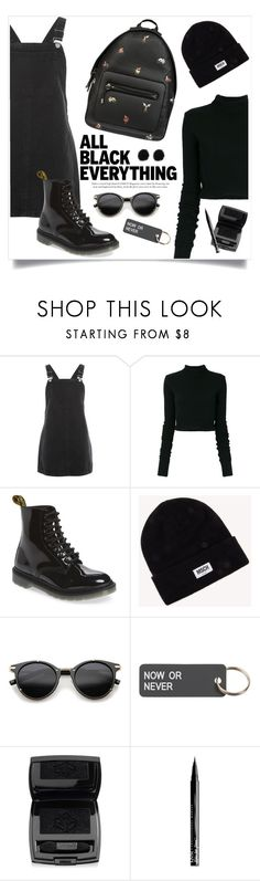 """""""Monochrome: All Black Everything no.2"""" by nadyabyne ❤ liked on Polyvore featuring Topshop, Faith Connexion, Dr. Martens, Alexander Wang, Moss, ZeroUV, Various Projects, Lancôme and NYX"""