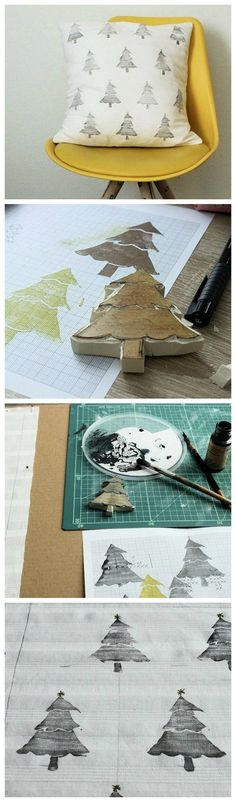 Kostenlose Anleitung: Kissen mit Tannenbäumen bedrucken / free diy tutorial: use a handmade stamp to upcycle a cushion via DaWanda.com