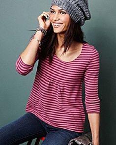 GARNET HILL Pure Cashmere Tunic Sweater NEW Pink/Plum Stripes $158  M #GarnetHill #Tunic