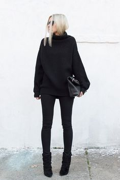 Cowgirl Style Outfits, Casual Outfits, All Black Fashion, Winter Fashion, Fashion Kids, All Black Outfit For Work, All Black Outfits For Women, All Black Clothing, Black On Black Outfits