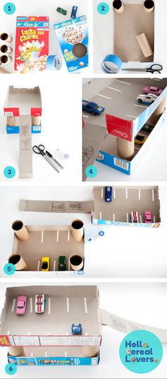It's a matchbox car parking garage! Made out of cereal boxes! Unfortunately, it appears the link is broken but the picture tutorial is self explanatory.