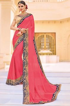 Embroidered Chiffon Fancy Designer Saree with Lace Border In Pink