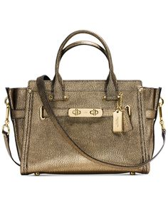 COACH SWAGGER 27 IN METALLIC PEBBLE LEATHER - Handbags & Accessories - Macy's