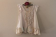 Camisa Shabby Chic | Upcycled ropa mujer | Ropa de encaje vintage
