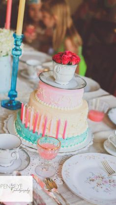 Tea Party Birthday Cake ~ Even *I* could make a cake like this :D (Sara's Bday)