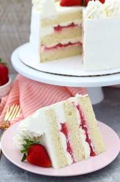 This Strawberry Mascarpone Cake is layered with a homemade moist vanilla cake, a fresh strawberry filling and mascarpone whipped cream. It's the perfect combination for a strawberries and cream cake.