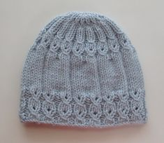 Knitting Pattern 114 Blue Hat with Mock Cables for a Lady