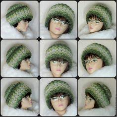 Купить Вязаная женская шапка на зиму, шапка теплая из шерсти с мохером - комбинированный, шапочка