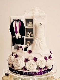 Wedding Wardrobe Top Tier Cake by thehazelnutbakery