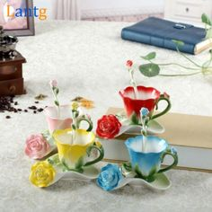 3D Rose Enamel Coffee Mug Tea Milk Cup Set With Spoon and Saucer Creative Ceramic European Bone China Drinkware Marriage Gift