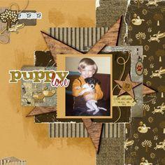 Steve and Abbie by trishaf - Digital Scrapbooking Ideas - DesignerDigitals #puppy #boys #scrapbook
