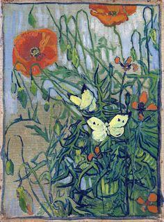 """Картина художника Винсента Ван Гога """"Маки и бабочки"""" 1890 г. Холст, масло. 34.5 x 25.5 см. Музей Винсента Ван Гога, Амстердам, Нидерланды."""