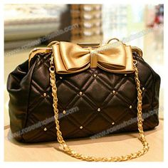 474b9ba75e Wholesale New Arrival Rhombus Embossing and Bowknot Embellished  One-Shoulder Bag For Female (BLACK