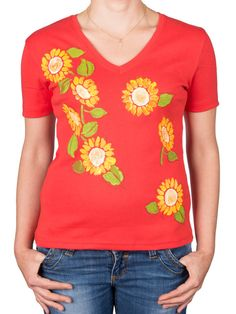 Hand Painted Red Cotton Ladies Tee Yellow Flowers by TheGingerTail