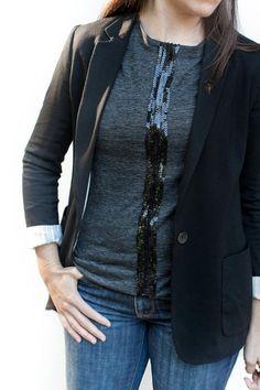 DIY Clothes Refashion: DIY Sequin Stripe Tee diy clothes diy refashion diy shirt