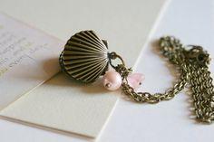Locket Necklace Shell Antique Gold Locket Pink by dorijewellery