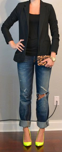but with my hot pink heels... Outfit Posts: outfit post: neon yellow heels, boyfriend jeans, black jacket