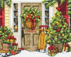 Home for the holidays! This festive stitch has us dreaming of the holidays. The design features a front door, with Christmas decorations, snow and plenty of presents!