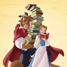 Belle and the Beast with a lot of books Disney Films, Disney E Dreamworks, Disney Pixar, Disney Animation, Disney Characters, Princesses Disney Belle, Disney Princess Drawings, Disney Drawings, Disney Princess Belle