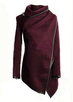 Burgandy Wool Asymmetric Coat
