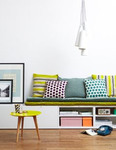 could use besta from ikea as a seat for against the wall. put cushions on top to make extra seating/storage space Ikea Hack Besta, Ikea Hacks, Home Living Room, Living Room Furniture, Furniture Mattress, Living Area, Casa Retro, Banquette Seating, Wall Seating