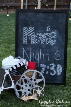 , party How to Plan an Outdoor Movie Night . , party How to Plan an Outdoor Movie Night Movie Night Chalkboard Sign. Outdoor Movie Birthday, Backyard Movie Party, Outdoor Movie Party, Backyard Movie Nights, Outdoor Movie Nights, Movie Night Party, Family Movie Night, Sommer Pool Party, Kino Party