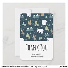 Cute Christmas Winter Animals Pattern Thank You Card Love Hug, Custom Thank You Cards, Art Reference Poses, Holiday Themes, Forest Animals, Holiday Festival, Your Cards, Smudging, Paper Texture