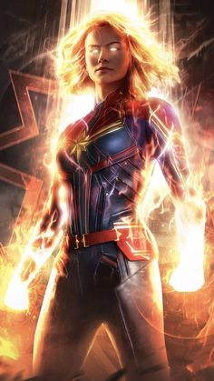 Captain Marvel is the first film at MCU, where the film features the first female superhero who has his solo film. The film starred Brie Larson as Car. Marvel Fanart, Films Marvel, Marvel Dc Comics, Marvel Heroes, Marvel Characters, Marvel Cinematic, Marvel Cosplay, Marvel Captain America, Captain Marvel Powers
