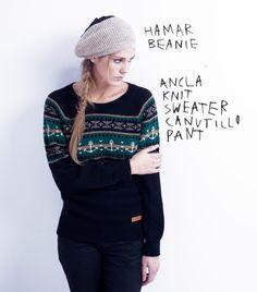 Hamar Beanie // Ancla Knit Sweater // Canutillo Pant Beanie, Hipster, Knitting, Clothing, Sweaters, Fashion, Man Women, Anchors, Men