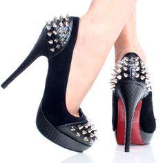 Black-Suede-Snake Studded Spike Lady Gaga Women Stiletto Platform Shoe