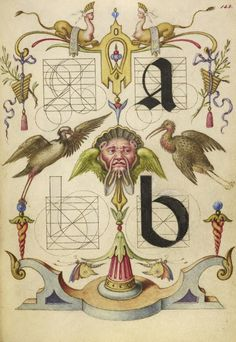 Joris Hoefnagel (illuminator)  [Flemish / Hungarian, 1542 - 1600],                  		            Guide for Constructing the Letters a and b,                      		        Flemish and Hungarian, about 1591 - 1596,