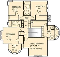 Second Floor Plan of Country   Farmhouse  Victorian   House Plan 95560. I love it. 3 bathrooms, 4 bed rooms.