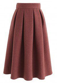 Sweet Distance Wool-Blended Midi Skirt in Red Brown - Retro, Indie and Unique Fashion Muslim Fashion, Hijab Fashion, Fashion Dresses, Skirt Outfits, Casual Outfits, Cute Outfits, Model Rok, Unique Fashion, Vintage Fashion