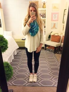 OOTD - 1.10.17 J.Crew Denim + Sweater Lilly Pulitzer Scarf New Balance Sneakers Kate Spade Watch