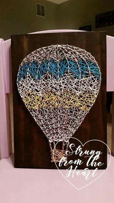 Chevron Hot Air Ballon string art sign by Strung from the Heart