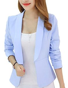 d8a5424369d Lovely Item Women's Slim Open Front Lapel Cardigan Casual Blazer Suit Jacket  at Amazon Women's Clothing store: